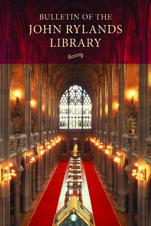 Bulletin of the John Rylands Library publishes research that complements the Library's special collections.